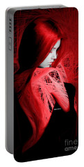 Portable Battery Charger featuring the digital art Lady In Red by Rafael Salazar