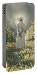 Lady In Vineyard Portable Battery Charger