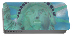 Portable Battery Charger featuring the painting Lady Liberty by Arlene Crafton