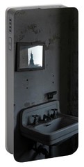 Lady Liberty In The Mirror Portable Battery Charger by Tom Singleton