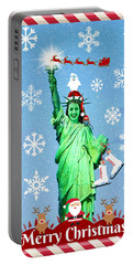 Lady Liberty's Got The Christmas Spirit Iv Portable Battery Charger