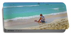 Portable Battery Charger featuring the digital art Lady On The Beach by Francesca Mackenney