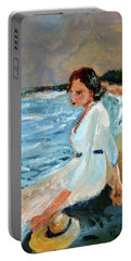 Lady On The Beach Portable Battery Charger