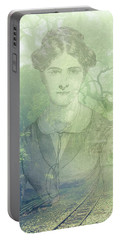 Portable Battery Charger featuring the mixed media Lady On The Tracks by Angela Hobbs