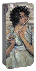 Lady Playing Flute Portable Battery Charger