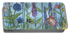 Portable Battery Charger featuring the painting Lady Slipper In My Garden  by Laurie Rohner