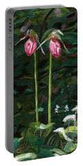 Portable Battery Charger featuring the painting Lady Slipper by Lynne Reichhart