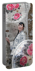 Lady With An Umbrella. Portable Battery Charger