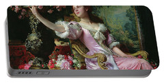 Lady With Flowers Portable Battery Charger