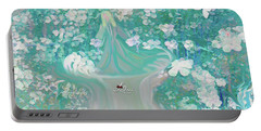 Lady With Love Of The Fountain Portable Battery Charger