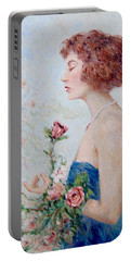 Lady With Roses  Portable Battery Charger