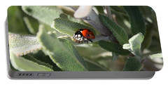 Ladybug And Sage Leaves Portable Battery Charger by Carol Groenen