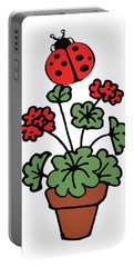Ladybug On Geranium Illustration  Portable Battery Charger