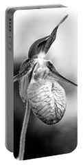 Lady's Slipper Orchid Flower In Black And White Portable Battery Charger by Betty Denise