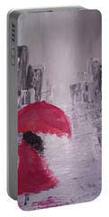 Portable Battery Charger featuring the painting Laidy In The City Abstract Art by Sheila Mcdonald
