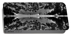 Lake 22 Winter Black And White Reflection Portable Battery Charger