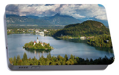 Portable Battery Charger featuring the photograph Lake Bled Pano by Brian Jannsen