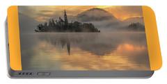 Lake Bled Sunrise Slovenia Portable Battery Charger