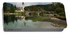 Lake Bohinj With Church In Slovenia Portable Battery Charger