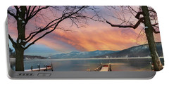 Lake George Winter Sunrise Portable Battery Charger
