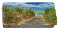 Portable Battery Charger featuring the photograph Lake Huron Boardwalk by Bill Gallagher