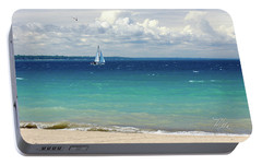 Portable Battery Charger featuring the photograph Lake Huron Sailboat by Meta Gatschenberger