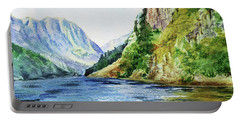 Lake In The Mountains Watercolor Portable Battery Charger