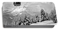 Lake Louise Gondola Over The Snow Ghosts Black And White Portable Battery Charger
