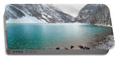 Lake Louise Mountain Snow Forest Landscape Portable Battery Charger by Andrea Hazel Ihlefeld