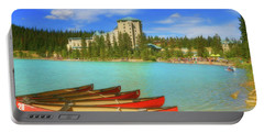 Red Canoes - Lake Louise Alberta Canada Portable Battery Charger