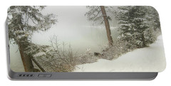 Portable Battery Charger featuring the photograph Lake Louise Shore by Andrea Hazel Ihlefeld