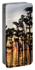 Lake Maurepas Sunrise Triptych No 1 Portable Battery Charger by Andy Crawford