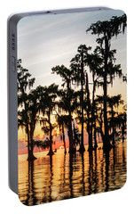 Portable Battery Charger featuring the photograph Lake Maurepas Sunrise Triptych No 1 by Andy Crawford