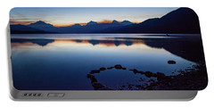 Portable Battery Charger featuring the photograph Lake Mcdonald Sunrise Tranquility by Lon Dittrick