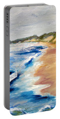 Lake Michigan Beach With Whitecaps Detail Portable Battery Charger