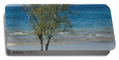 Portable Battery Charger featuring the photograph Lake Michigan Birch Tree Bench by LeeAnn McLaneGoetz McLaneGoetzStudioLLCcom
