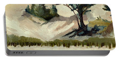 Portable Battery Charger featuring the painting Lake Michigan Dune With Trees And Beach Grass by Michelle Calkins