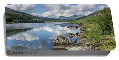 Lake Mymbyr And Snowdon Portable Battery Charger by Ian Mitchell