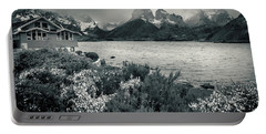 Lake Pehoe In Black And White Portable Battery Charger by Andrew Matwijec