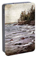Portable Battery Charger featuring the photograph Lake Superior Waves by Phil Perkins