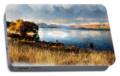 Portable Battery Charger featuring the digital art Lake Tekapo by Kai Saarto