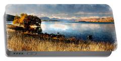 Portable Battery Charger featuring the digital art Lake Tekapo by Kai Saarto