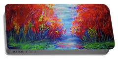 Olena Art Lake View Abstract Artwork Portable Battery Charger