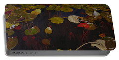 Portable Battery Charger featuring the painting Lake Washington Lilypad 7 by Thu Nguyen