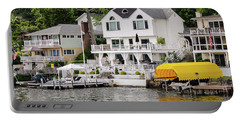 Portable Battery Charger featuring the photograph Lakefront Living Hopatcong by Maureen E Ritter