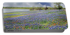 Portable Battery Charger featuring the photograph Lakeside Texas Bluebonnets by David and Carol Kelly