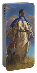 Portable Battery Charger featuring the painting Lakota Woman by Kim Lockman