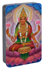 Portable Battery Charger featuring the painting Lakshmi Blessing by Sue Halstenberg