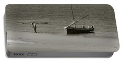 Lamu Island - Wooden Fishing Dhow Getting Unloaded - Black And White Portable Battery Charger by Exploramum Exploramum