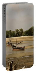 Lamu Island - Wooden Fishing Dhows At Low Tide With Pier - Antique Portable Battery Charger